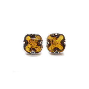 Clover Stud Amber Earrings