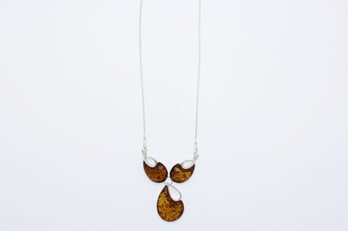 Cognac color Baltic Amber Sterling Silver Necklace