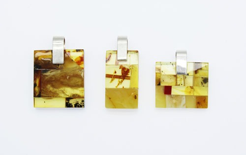 Natural Baltic Amber Sterling Silver Mosaic Pendant