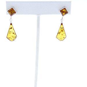 Baltic Amber Post Dangle Earrings.