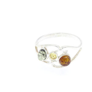 Natural Baltic Amber Ring Multi color/925 Sterling Silver