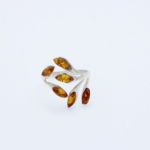 Amber Cognac Adjustable Ring 925