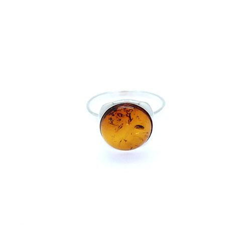 Round Stone Natural Baltic Amber Ring