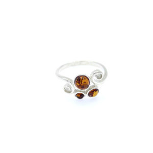 Cognac Baltic amber ring.