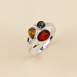 Genuine Baltic Amber Sterling Silver Ring