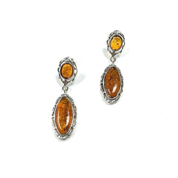 Cognac Amber Sterling Silver Earrings