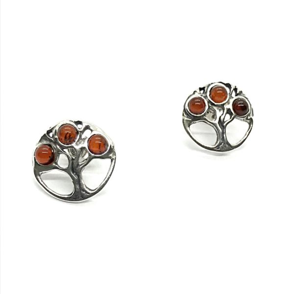Baltic Amber Sterling Silver, Tree stud earrings.