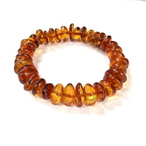 Cognac color Baltic Amber Stretch Bracelet. www.amberman.com