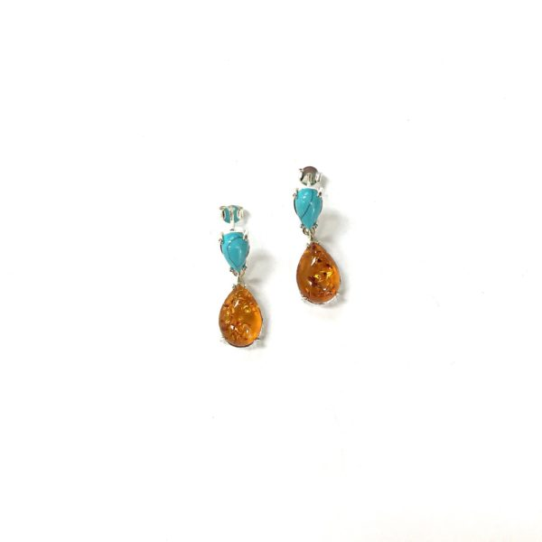 Baltic Amber Turquoise Earrings
