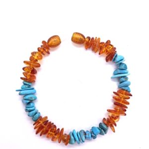 Genuine Baltic Amber with Turquoise Bracelet. www.amberman.com