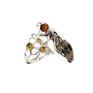 Bee on a Beehive Adjustable Amber Ring