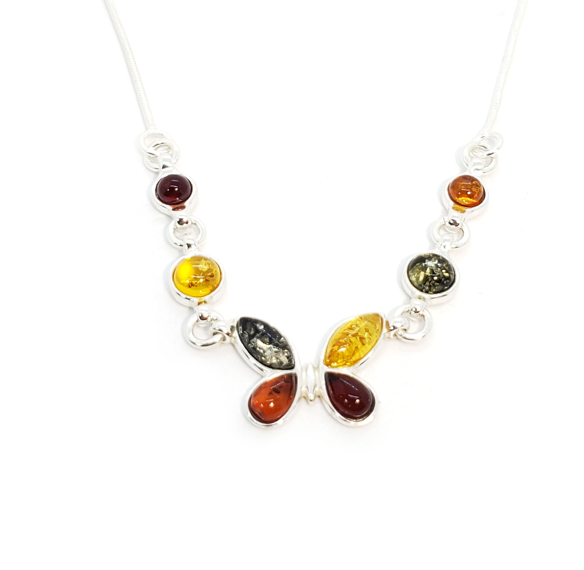 Butterfly Amber Sterling Silver Necklace