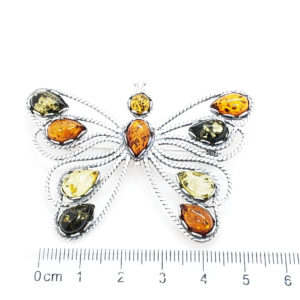 Multicolor Amber Butterfly Large Brooch/Pin
