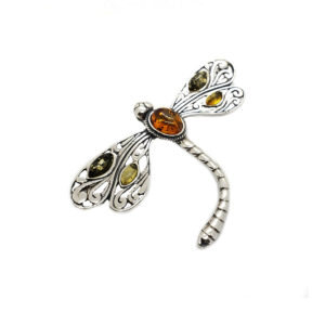 Multicolor Amber Dragonfly Brooch/Pin