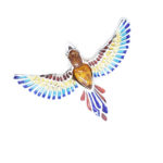Amber and Enamel Parrot Pin /Pendant