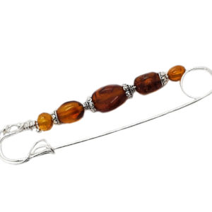 Cognac Amber Safety Pin /Brooch