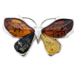 Amber Butterfly Brooch / Pin