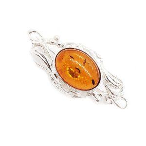 Cognac Amber /Silver Brooch /Pin
