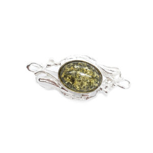 Green Amber /Silver Brooch /Pin
