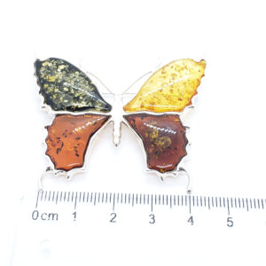 Multicolor Large Amber Butterfly Brooch/Pin 925