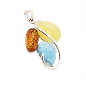 Amber /Larimar Multicolor Pendant