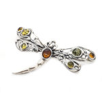 Amber /Oxidized Silver Brooch/Pin