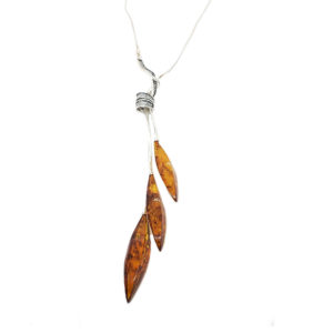 Marquise Dangle 3 Stone Cognac Necklace with Silver