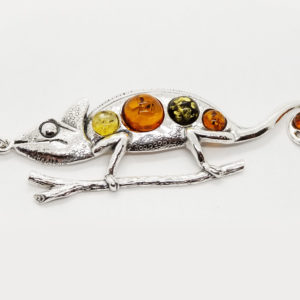 Chameleon Lizard Multi color Amber Pendant 925