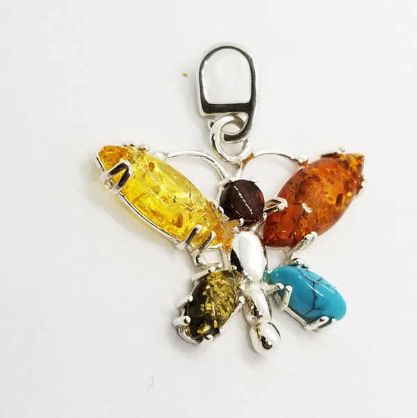 Baltic Amber /Turquoise/925 Silver Butterfly Pendant.