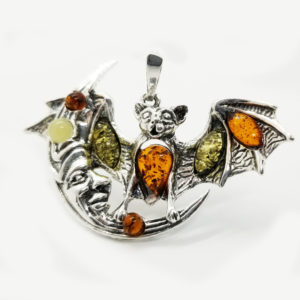 Bat on the Moon Multi color Amber /.925 Silver Pendant