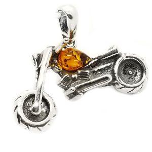 Motorcycle Cognac Amber 925 Silver Pendant