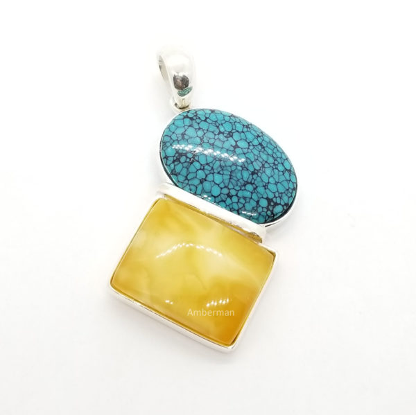 Butterscotch Amber/Turquoise/ .925 Silver Pendant