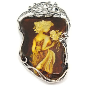 Lady with Flowers Hand Carved Intaglio /Cameo Amber Pin/Pendant