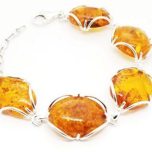 Cognac Natural Baltic Amber Link Bracelet