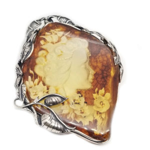 Hand Made Amber Intaglio/Cameo Lady Pin /Pendant
