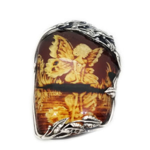 Fairy Hand Carved Reverse Intaglio /Cameo Amber Pin/Pendant