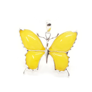Butterscotch Natural Baltic Amber Butterfly Pendant