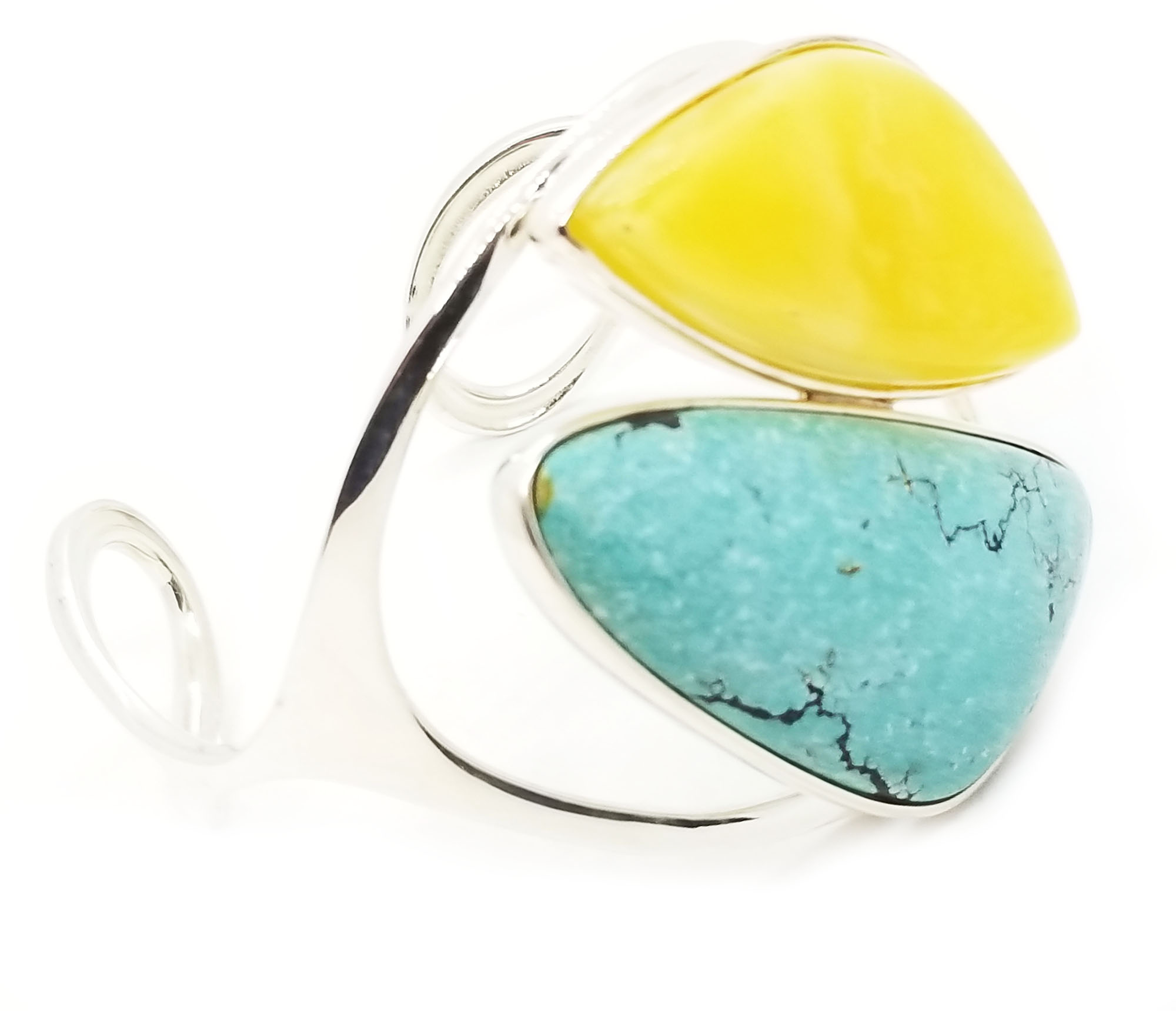 Butterscotch and Turquoise Amber Open Cuff Bracelet 925