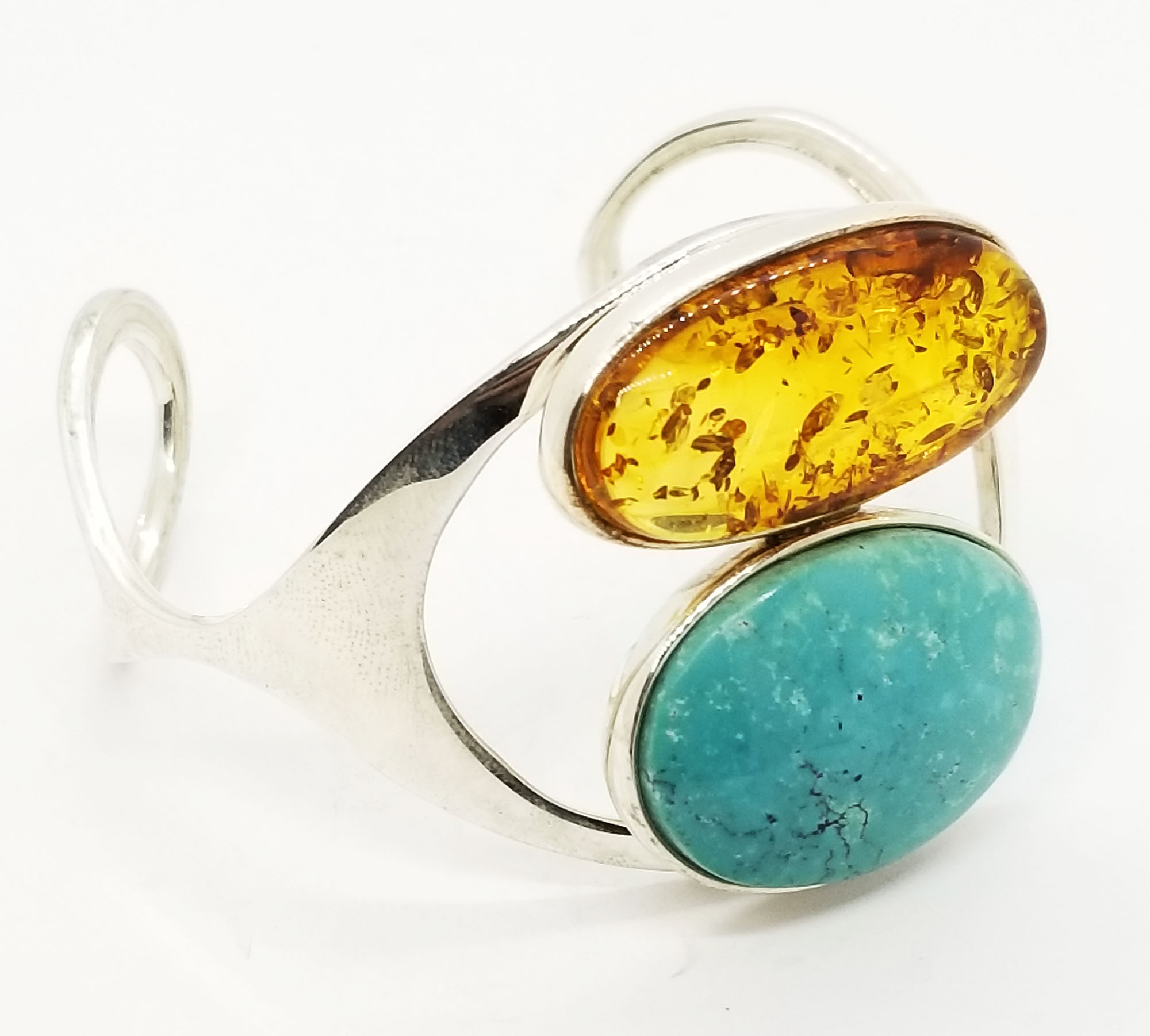 Amber and Turquoise Open Cuff Bracelet
