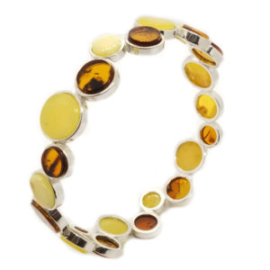 Modern Multicolor Amber Bangle Bracelet