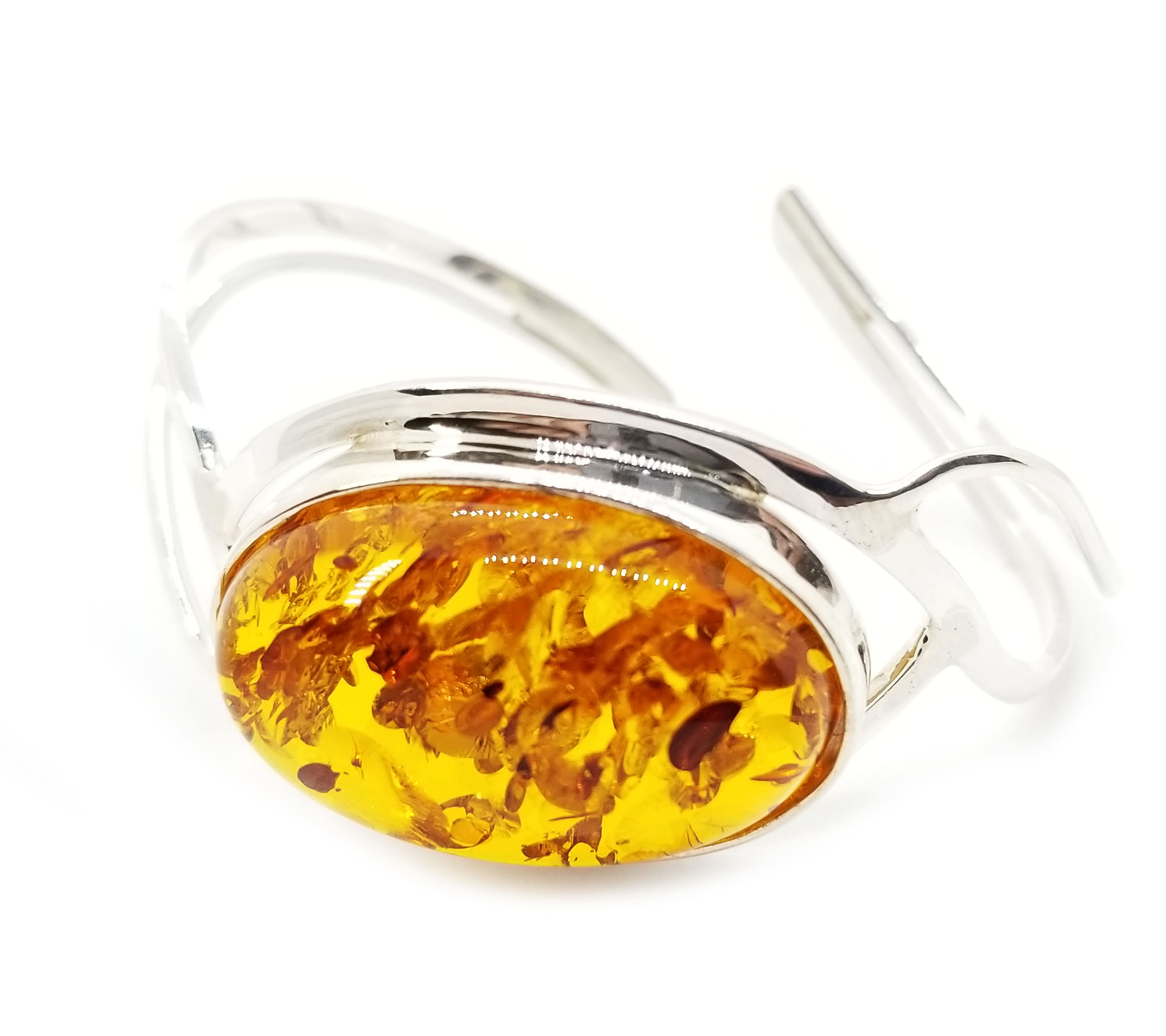 Cognac Amber Open Cuff Bracelet Wave Design 925