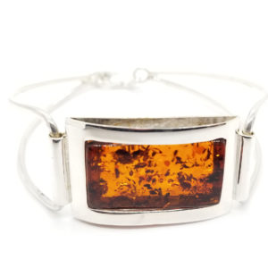 Cognac Amber Rectangle Cuff Bracelet with Lobster Clasp