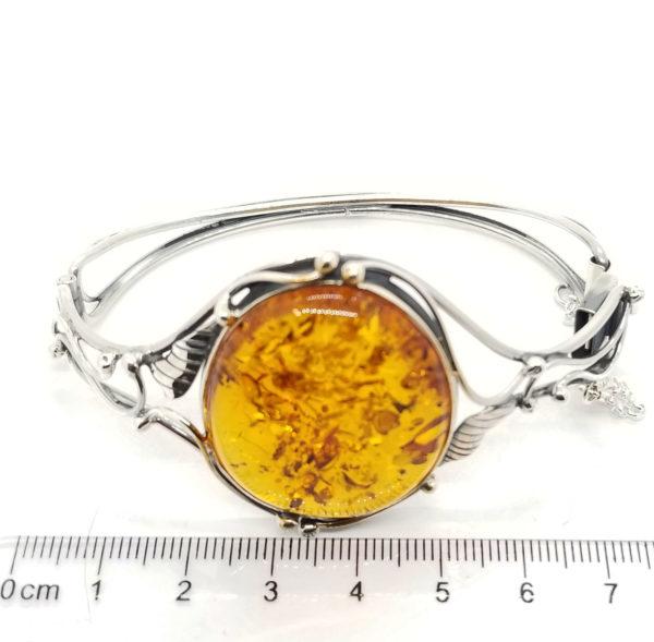 Antique Design Amber Cuff Bracelet, Oxidized Silver. Baltic amber