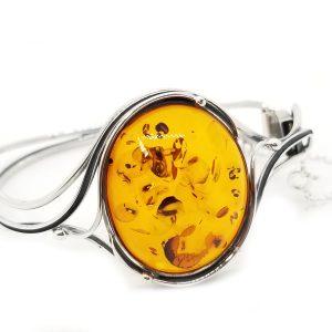 Antique Design Cognac Amber Cuff Bracelet