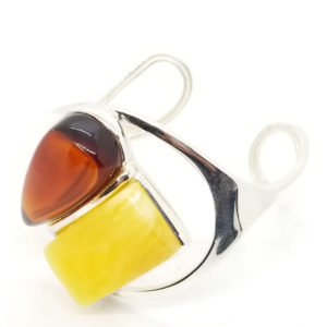 Cherry and Butterscotch Amber Open Cuff Bracelet