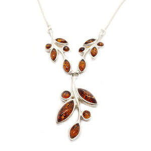 Cognac Amber Silver Necklace
