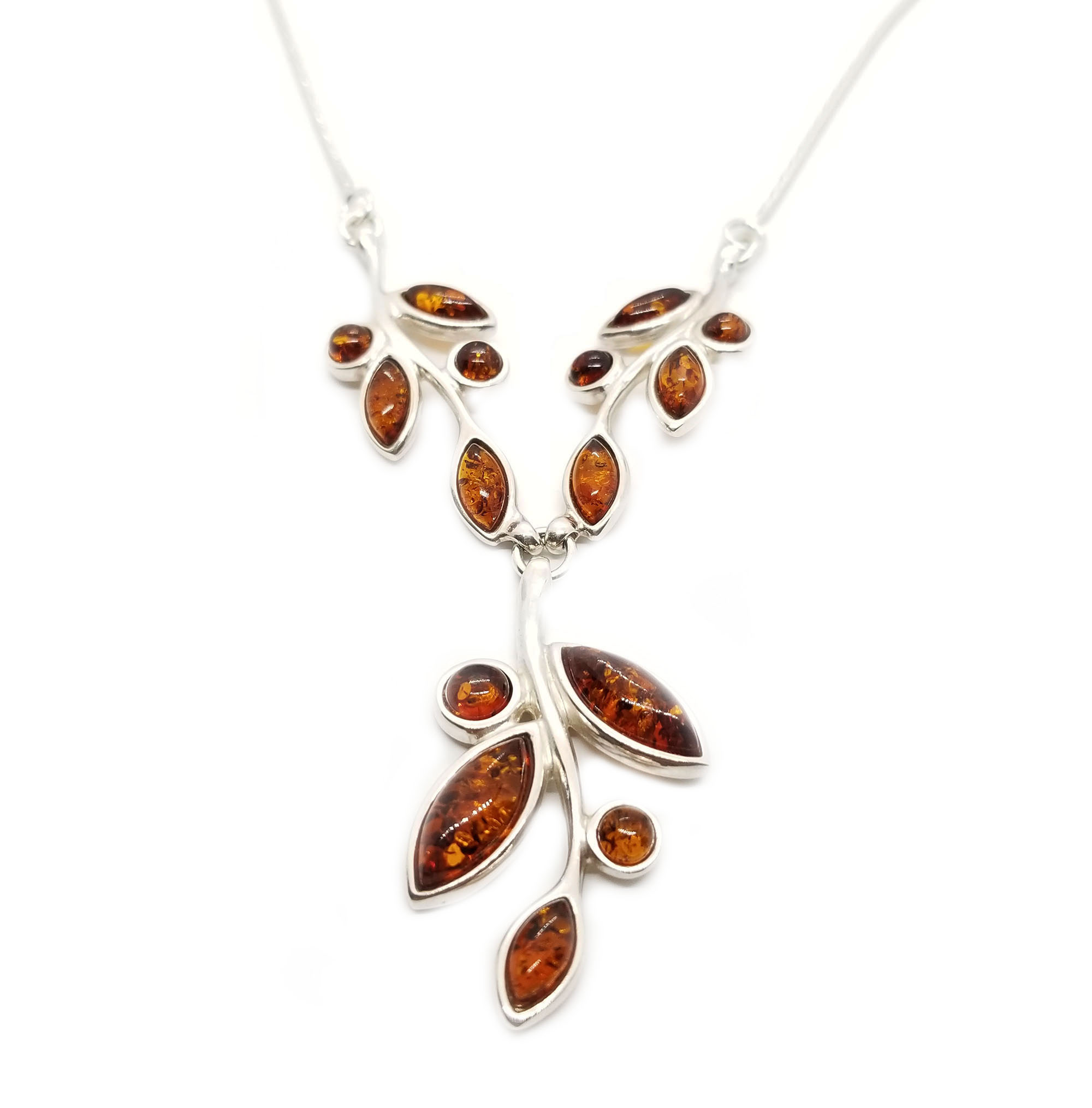 Cognac Amber Silver Necklace