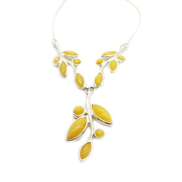 Butterscotch Amber Marquis Stones Sterling Silver Necklace