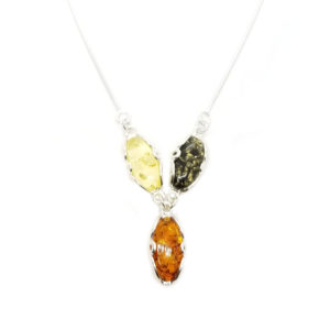 Oval Multicolor Amber Necklace