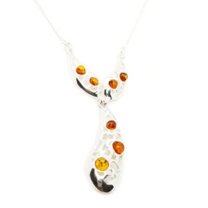 Cognac Amber Filigree Silver Necklace